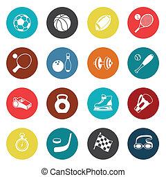 set, sport, icons.