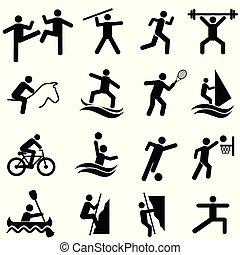 set, sport, idoneità, attività, esercizio, icona