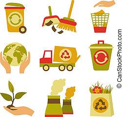 set, spreco, ecologia, icona