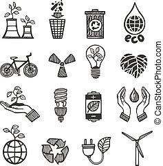 set, spreco, ecologia, icone