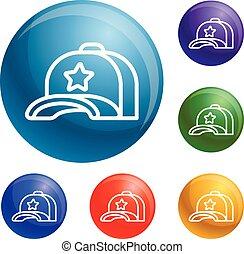 set, stella, icone, berretto, vettore, baseball