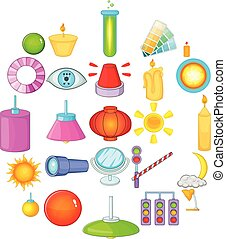 set, stile, illuminazione, cartone animato, icone
