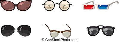 set, stile, occhiali, cartone animato, icona