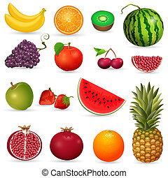 set, succoso, frutta, isolato