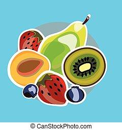 set, succoso, frutta