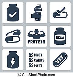 set, supplementi, icone, isolato, vettore, sport