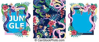 set, t, adesivo, fiori, serpente, cornice, stampa, progetta, disegno, camicia, tropis, swatch, giungla, giungla, modello