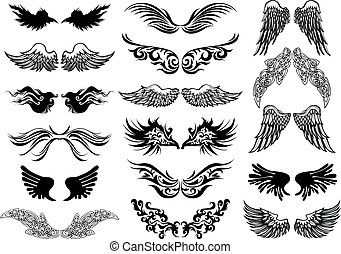 set, tatuaggio, ali, vettore