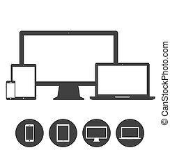 set, tavoletta, icone, telefoni mobili, mostra, laptop, sagoma, congegno, elettronico
