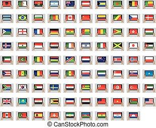 set, tavoletta, -, illustrato, pc, bandiere, mondo