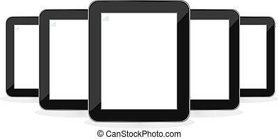 set, tavoletta, isolato, pc, digitale, bianco