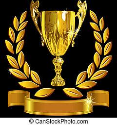 set, tazza, successo, oro, ghirlanda, vincente, vettore, sfondo nero, alloro, baluginante, nastro