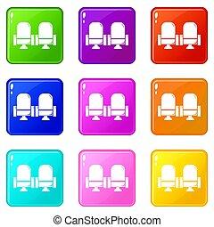 set, teatro, icone, colorare, collezione, posto, 9