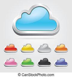 set., tecnologia, nuvola, icone