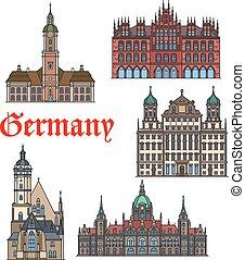 set, tedesco, viaggiare, magro, punto di riferimento, linea, icona