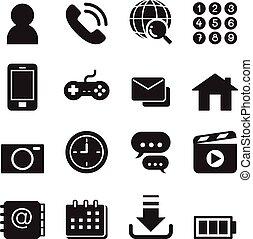 set, telefono, icone, domanda, fondamentale, far male