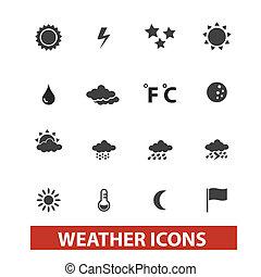 set, tempo, vettore, icone