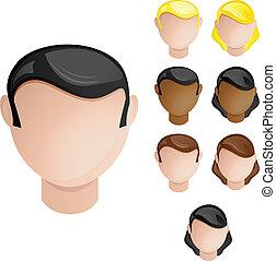set, teste, persone, capelli, colori, 4, pelle, female., maschio