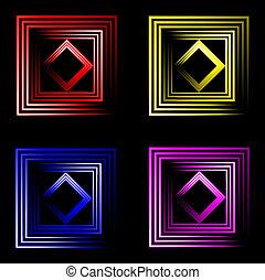 set, text., neon, variopinto, quadrato, posto, fondo, tuo