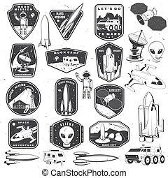 set, tipografia, silhouette, terra, camicia, distintivo, patch., razzo, spazio, straniero, città, logotipo, vendemmia, disegno, luna, furgone, marte, campeggiatore, stampa, stamp., vector., concetto, missione