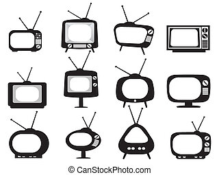set tivù, nero, retro, icone