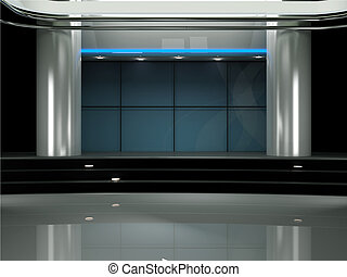 set tivù, studio, virtuale, 3d