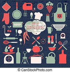 set, tools., cucina, icone