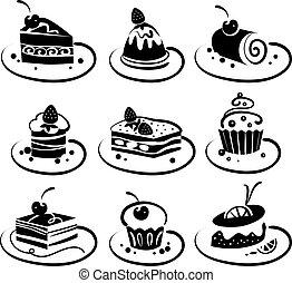 set, torte
