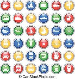 set, trasporto, icone