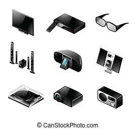 set, tv, -, elettronica, audio, icona