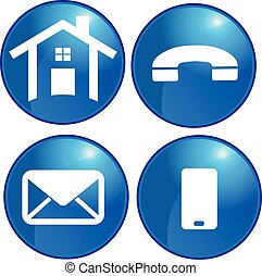 set, ufficio affari, icone, casa, vettore, comunicazione