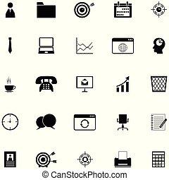 set, ufficio, icona