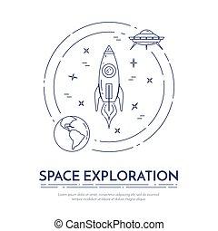 set, ufo, satellite, viaggiare, spazio, pictograms., navi, elementi, banner., pianeti, cosmo, altro, linea, spyglass