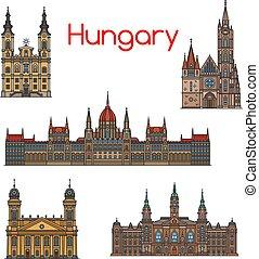 set, ungherese, viaggiare, magro, punto di riferimento, linea, icona