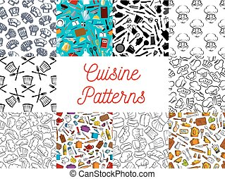 set, utensili, chef, modelli, cucina, cappello, cucina