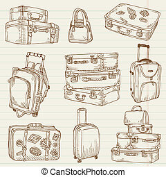 set, valigie, vendemmia, -, vettore, disegno, album