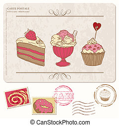 set, vecchio, cartolina, -, francobolli, cupcakes, disegno, scrapbooking