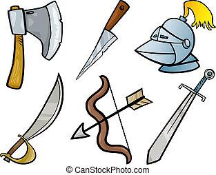 set, vecchio, illustrazione, armi, oggetti, cartone animato