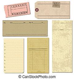set, vecchio, oggetti, -, carta, vettore, disegno, album