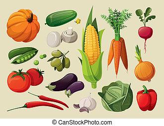 set, vegetables., delizioso