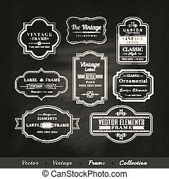 set, vendemmia, cornice, calligraphic, vettore, disegno, lavagna, fondo, elementi