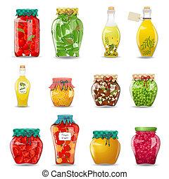 set, verdura, funghi, miele, vetro, frutta, disegno, conservato, vasi, tuo