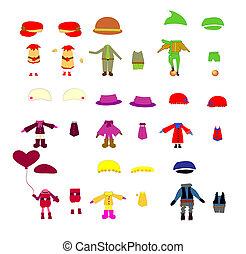 set, vestiti, bambini, vettore, disegni elementi