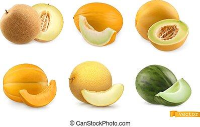 set, vettore, 3d, meloni, fruits., dolce, realistico, icona