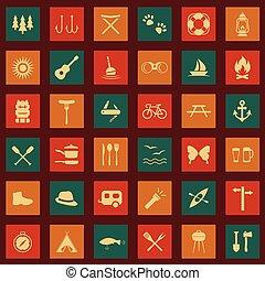 set, vettore, campeggio, icone