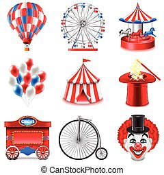 set, vettore, circo, icone