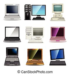set, vettore, computer, tipi, icone
