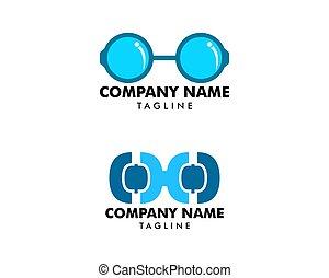 set, vettore, disegno, logotipo, elementi, occhiali