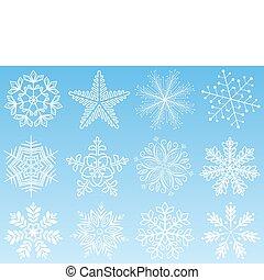 set., vettore, fiocco di neve, illustration.