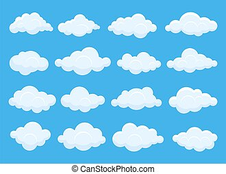 set, vettore, illustrazione, isolato, disegno, cielo blu, nubi, bianco